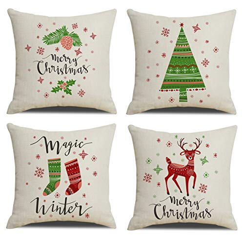 Set of 4 Christmas Pillow Covers Festival Home Decoration Cushion Covers 18 x 18 inch Xmas Decorations