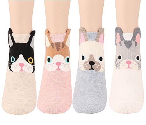 - Womens Girls Best Socks Collection - Novelty Cute Lovely Animal Character Design Patterned, Perfect Secret Santa Present - Good for Gift Under $20 - One Size Fits All (Ear Cuff Kitties)