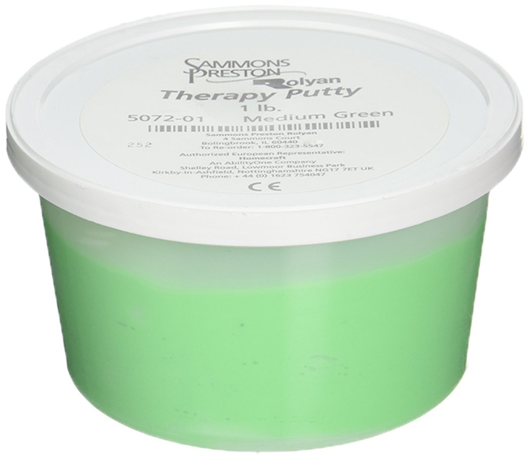 Sammons Preston Therapy Putty for Physical Therapeutic Hand Exercises, Flexible Putty for Finger and Hand Recovery and Rehabilitation, Strength Training, Occupational Therapy, 1 Pound, Medium, Green