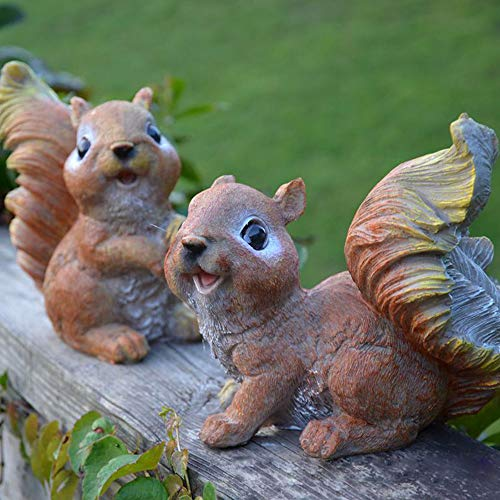 Danmu One Pair of Polyresin Squirrel Statue, Garden Statues, Outdoor Statues, Garden Ornaments, Yard Statue for Home and Garden Decor (Decor Squirrel Yard)