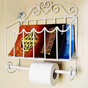 White iron wall mounted magazine rack file bathroom organizer w toilet tissue paper holder for Magazine holder wall mount for bathrooms