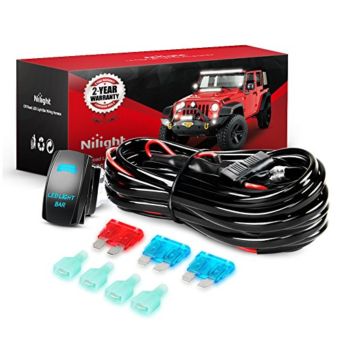 Nilight NI-WA 07 LED Light Bar Wiring Harness Kit 12V On/Off 5 Pin Rocker Switch Power Relay Blade Fuse for Jeep Boat Trucks, 2 Years Warranty