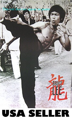 (Bruce Lee planted high kick b&w POSTER 21 x 31 martial arts karate kung fu master movie star (sent FROM USA in PVC pipe))