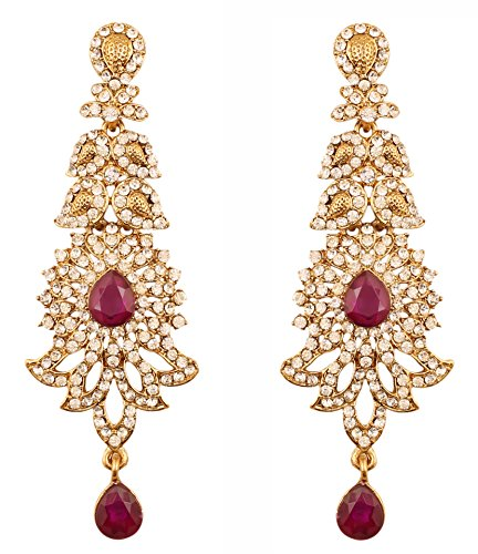 Indian Designer Earrings (Touchstone Indian Bollywood Rhinestone/faux purple amethyst bridal designer jewelry earrings for women in antique gold tone)