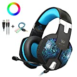 Gaming Headset with Mic and USB RGB LED Light for PS4 Xbox One PC Nintendo Switch,Lightweight Stereo Sound Over Ear Headphones,Soft Memory Earmuffs & Noise Cancelling & Volume Control