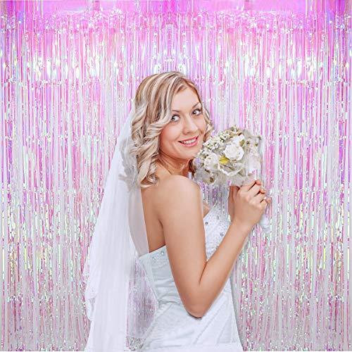 Blukey 2pcs 3ftx8ft Iridescent White Metallic Tinsel Foil Fringe Curtain