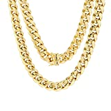 """Men's 10K Yellow Gold 11mm Hollow Miami Cuban Link Chain Pendant Necklace, 22""""- 30"""": more info"""