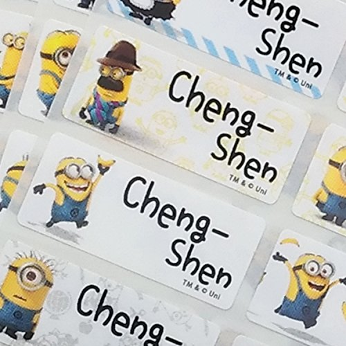 VivaLabels Character Name Stickers, Name Labels: Minions (120 pieces, Waterproof, Personalized Labels, Get 1 Storage Folder free) -