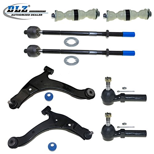 DLZ 8 Pcs Front Suspension Kit-2 Lower Control Arm Ball Joint Assembly 2 Inner 2 Outer Tie Rod End 2 Sway Bar Compatible with 2001-2010 Chrysler PT Cruiser 2001-2005 Dodge Neon
