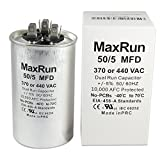 MAXRUN 50+5 MFD uf 370 or 440 Volt VAC Round Motor Dual Run Capacitor for AC Air Conditioner Condenser - 50/5 uf MFD 440V Straight Cool or Heat Pump - Will Run AC Motor and Fan - 1 Year Warranty