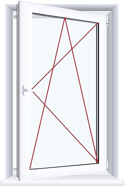 Glas:3-Fach BxH:600x800 Drutex Kunststofffenster wei/ß Dreh Kipp Anschlag:DIN Links