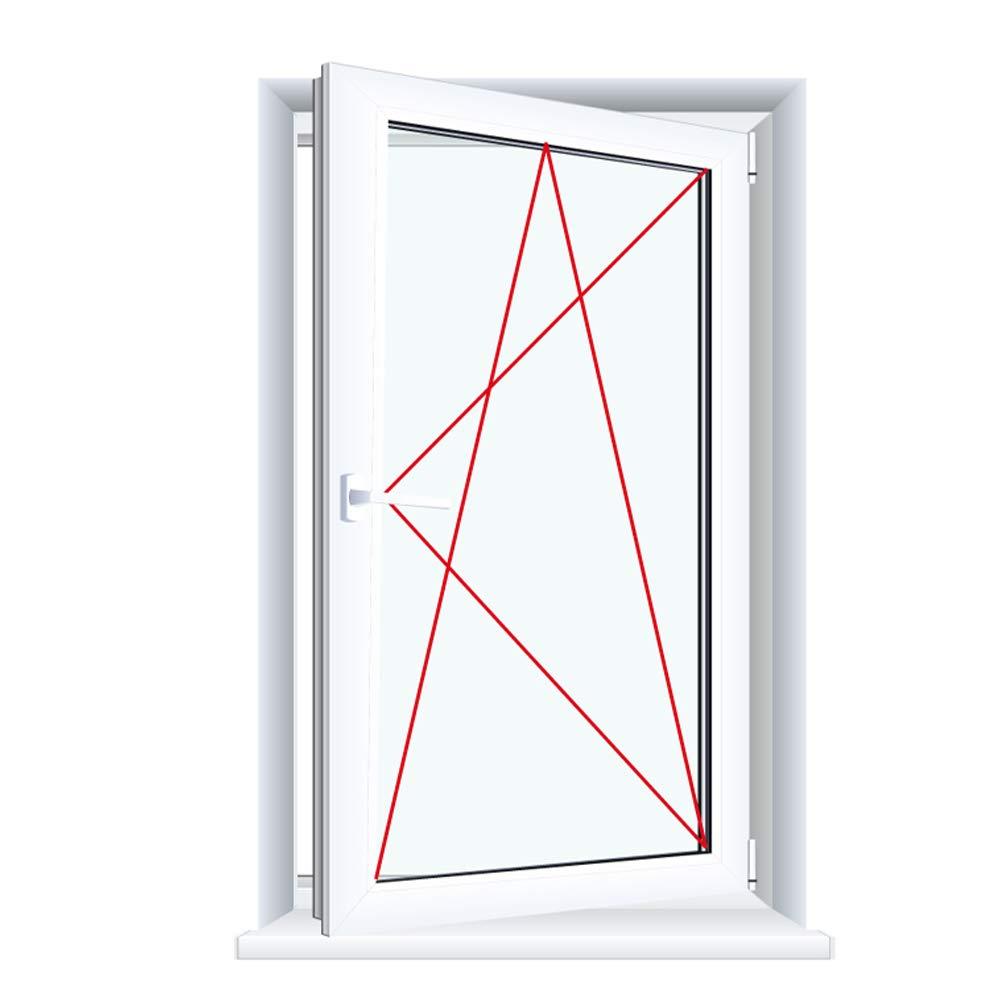 Glas:2-Fach BxH:900x1300 Anschlag:DIN Rechts Kunststofffenster Badfenster Ornament Milchglas Weiss Dreh//Kipp