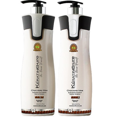 Keratin Cure Color & KeratinSafe -SULFATE FREE- Shampoo and Conditioner Set Sulfate Free Keratin Cure Set Chocolate Max 960 ml /32.5 Fl Oz Bio-brazilian Champu Y Acondicionador De Keratina Y Cocoa by Keratin Cure