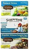 Celestial Seasonings Wellness Caffeine Free Herbal Tea 3 Flavor Variety Bundle: (1) Natural Detox Tea, (1) Sleepytime Extra Tea, and (1) Sleepytime Echinacea Complete Care Tea (20 Count Ee.)