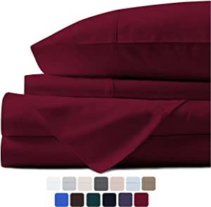 Mayfair Linen 100% Egyptian Cotton Sheets, Burgundy California King Sheets Set, 600 Thread Count Long Staple Cotton, Sateen Weave for Soft and Silky Feel, Fits Mattress Upto 18'' DEEP Pocket.