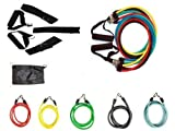 Bespolitan Abs Yoga Fitness Exercise Workout Kit with Set of 5 Resistance Bands (11-Piece)