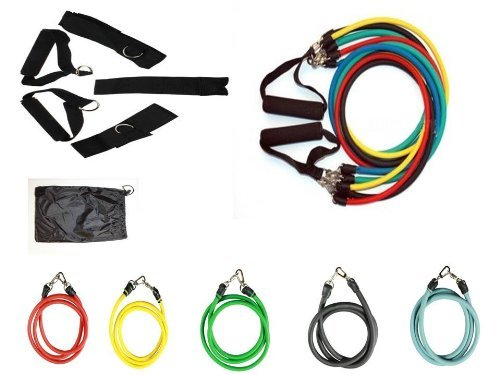 Bespolitan Abs Yoga Fitness Exercise Workout Kit with Set of 5 Resistance Bands (11-Piece) by BESPOLITAN INC.