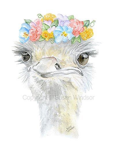Ostrich Floral Watercolor Print (Susan Art Deco Print)