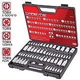 Carbyne 62 Pc Master Torx Bit Socket Set & Torx External Socket Set, S2 Steel Bits, CRV Sockets | 1/4-inch, 3/8-inch & 1/2-inch Drive