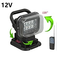 Lightronic LED Rotating Remote Control Search Light 50W 12V 360º Cree Working Lights Emergency Lighting Construction Lamp for Offroad Car SUV Camping Garden Hummer Jeep Vehicles Trucks Boat