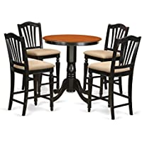 East West Furniture EDCH5-BLK-C 5 Piece Kitchen Table and 4 Counter Height Dining Chair Set