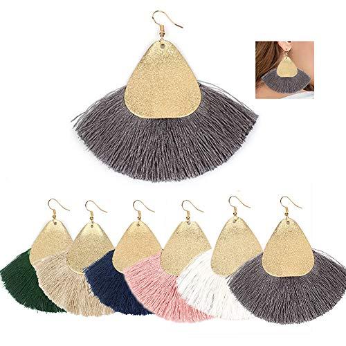 AMCHIC Fan Bohemian Statement Metal Silky Tassel Fashion Earrings for Women Dangling,Thread Fringe Vintage Ethnic Teardrop Leaf Earrings
