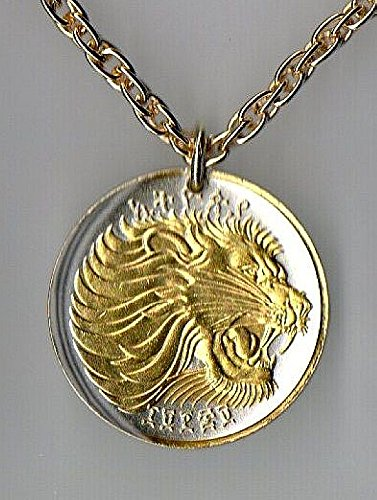 """Review Gorgeous 2-Toned """"Gold on Silver"""" Ethiopia """"Lion"""", Coin Necklaces"""
