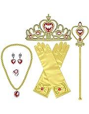 AutoWT Princesa Vestirse Elsa Accesorios Set, Juego de disfraces de fiesta de 6 piezas para princesa Cenicienta Niñas Cosplay Con Para Elsa Crown Tiara Collar anillo Arete Varita mágica Guantes Accesorios de fiesta (Oro)