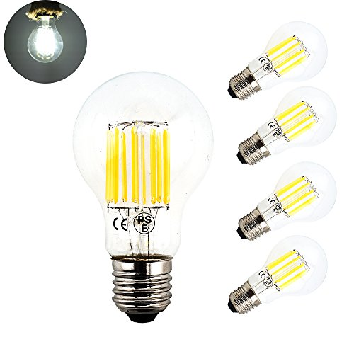 100w 130v A19 Medium Base (LuxVista 10W A19 Edison Style Vintage LED Filament Bulb Medium Screw E26 Base Omnidirectional LED Light Bulb 100 Watt Incandescent Replacement Bulb, Daylight 6000k, Non-dimmerable (Pack-4))