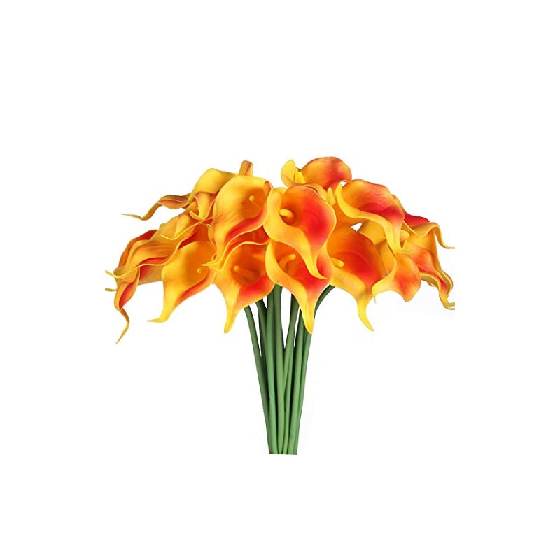 silk flower arrangements justoyou 20pcs artificial calla lily real touch latex flower for bride wedding home decor(orange)
