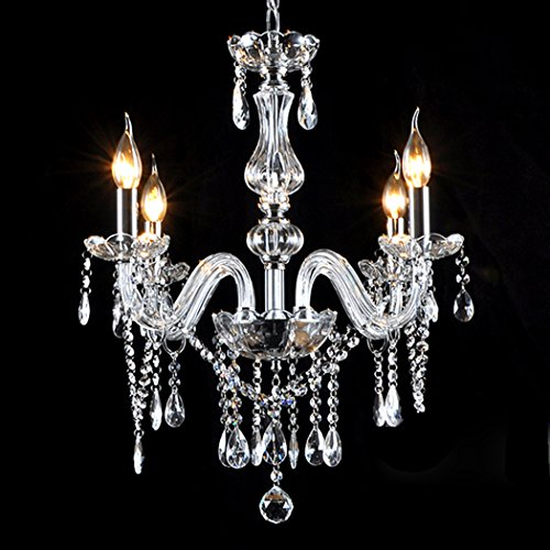 Brass Crystal Pendant (Gracelove Crystal Lamp Fixture Pendant 4 Lights Ceiling Chain Candle)