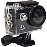 Premium Quality Action Cam 4K WiFi Ultra HD Waterproof Sport Camera 2 Inch LCD Screen 12MP 170 Degree Wide Angle Lens 2 Rechargeable 1050mAh Batteries, Includes 18 Accessories Kits