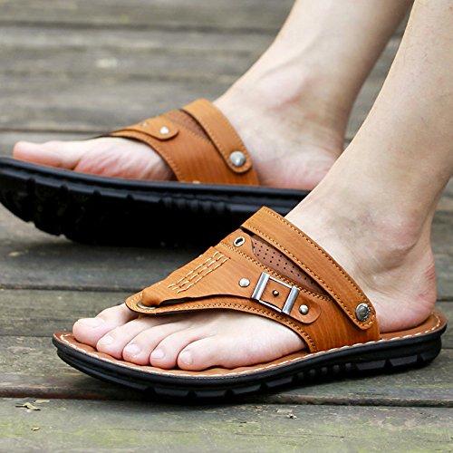 ZHANGJIA 8819Jaunâtre L'Été 42 ChaussuresDePlageOccasionnelsEtD'Antidérapage HommesSandales CoréenPortableChaussons 6wg61qFC