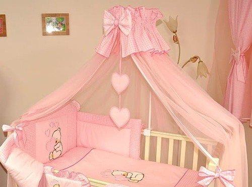 Baby Betthimmel/Fall/Moskitonetz groß 485cm nur für Kinderbett oder-Herzen rosa kariert