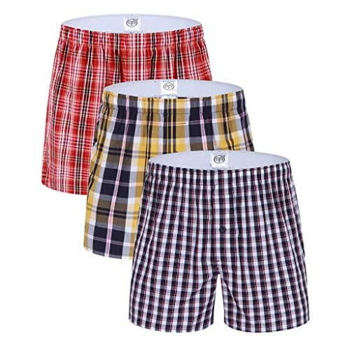 Top CIC Collection Men's 3-Pack Plaid Woven Boxer Shorts