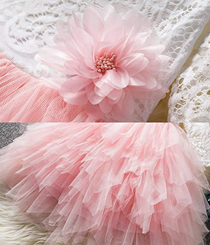 NNJXD Backless Lace Back Tutu Tulle Princess Party Dress Flower Girls Dresses Size (120) 4-5 Years Pink by NNJXD (Image #5)