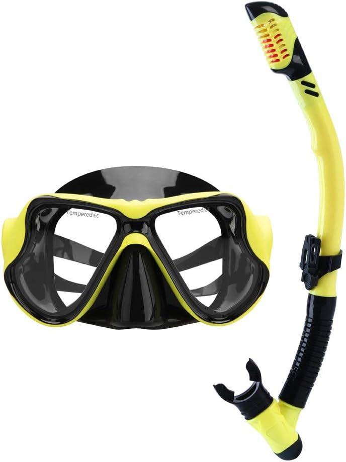 Diving Snorkeling Maschera Subacquea con boccaglio in Silicone Alimentare Vista cristallina e Cinturino Regolabile Set per Snorkeling Lente in Vetro temperato di Maschera per Snorkel