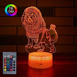 HLLKYYLF Kids Lion Decor Lion Party Supplies 16 Color Changing Kids Lamp with Touch and Remote Control Lion Toy Light as…