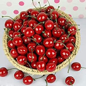 gootrades Artificial Lifelike Simulation Red Cherries Fake Fruit for Party Decoration (Pack of 50) 2
