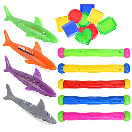 LOVESTOWN 31 Pcs Diving Toy Set, Swimming Pool Toys Underwater Swim Toys Pool Diving Toys for Kids