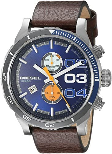 Diesel Men s DZ4350 Stainless Steel Watch with Brown Leather Band