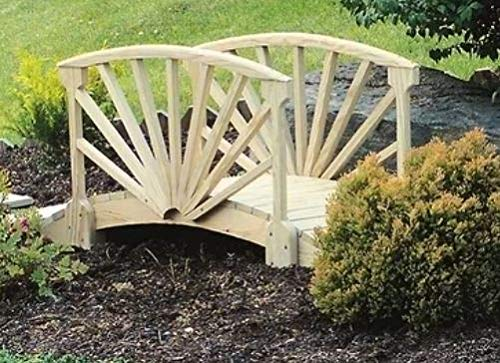 (Genevra- Wooden Bridges for Yard-Adding Instant Charm to Your Garden-Color Unfinished Wood Sunrise Style)