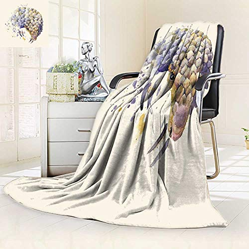 YOYI-HOME Digital Printing Duplex Printed Blanket African Animals Armadillo with Splash Watercolor Textured Summer Quilt Comforter/79 W by 59