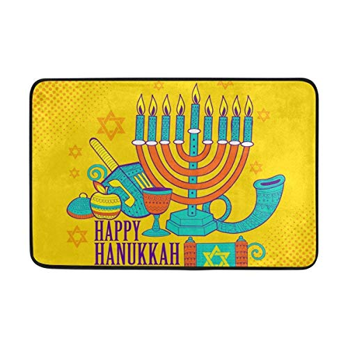 Carpet Happy Hanukkah Traditional Jewish Holiday Candle Doormat 15.7 x 23.6 inch, Living Room Bedroom Kitchen Bathroom Decorative Lightweight Foam Printed Rug - Jewish Celebrations Rug