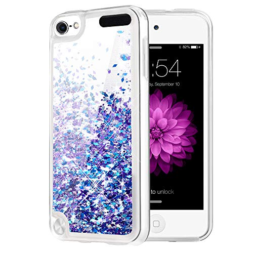 Caka iPod Touch 5/6/7 Case, iPod Touch 7 Glitter Case Liquid Series Luxury Fashion Bling Flowing Liquid Floating Sparkle Glitter Girly Soft TPU Case for iPod Touch 5/6/7 - (Blue Purple)