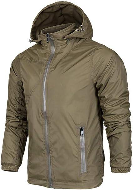 Men/'s Rain Jacket Waterproof Full Zip Hooded S Outdoor Light Weight Wind S-2XL