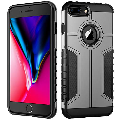 JETech Case for Apple iPhone 8 Plus and iPhone 7 Plus, Dual Layer Protective Cover with Shock-Absorption, Grey