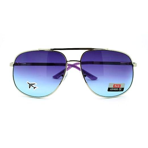9bd77f87cec Amazon.com  Purple Lens Square Aviator Sunglasses Flat Top Silver ...