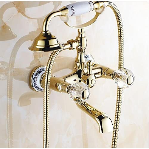 SAEKJJ-Antique golden showers shower sets European brass hot and cold American gold-plated Bathroom faucet outlet