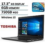 "2016 Newest Toshiba C75 17.3"" Premium High Performance Laptop PC, Intel i3-5005U Dual-Core Processor, 6GB RAM, 750GB HDD, DVD+/-RW, Webcam, HDMI, WIFI, Bluetooth, Windows 10"